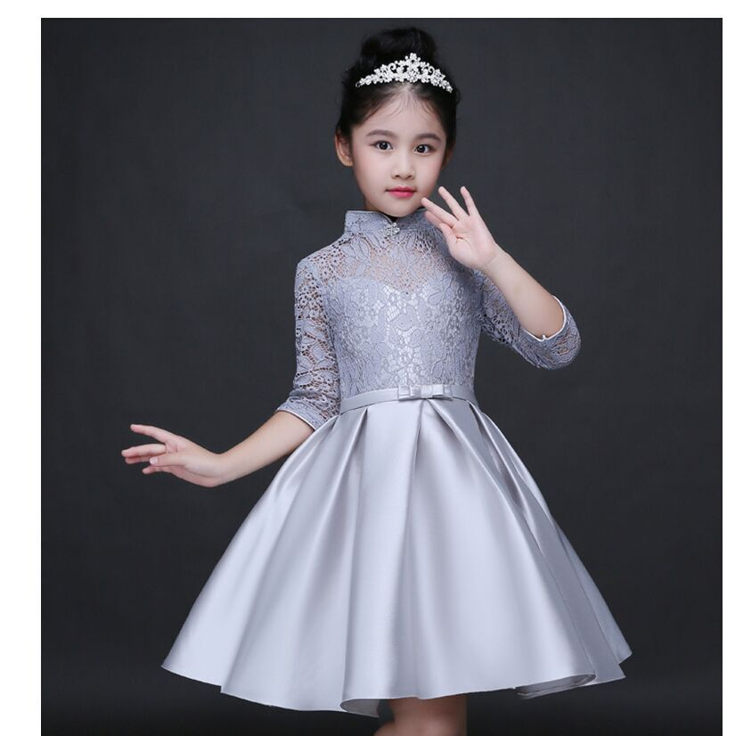 HTB1 LHmQFXXXXarXXXXq6xXFXXXm - Baby Girl Kid Evening Party Dresses For Girl Wedding Princess Clothing 2017 New Solid Color Bow Moderator Dress Children Clothes