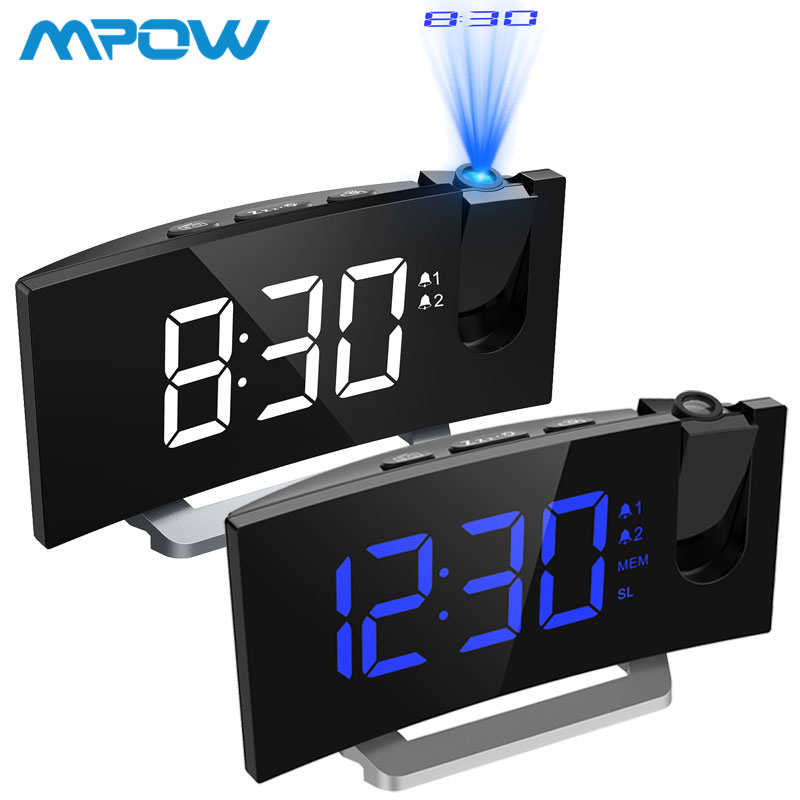 MPOW LED FM Projection 2 Alarms Clock Multifunctional 5-inch Curved Screen 5 Levels Display Brightness 4 Adjustable Alarm SoundsMPOW LED FM Projection 2 Alarms Clock Multifunctional 5-inch Curved Screen 5 Levels Display Brightness 4 Adjustable Alarm Sounds