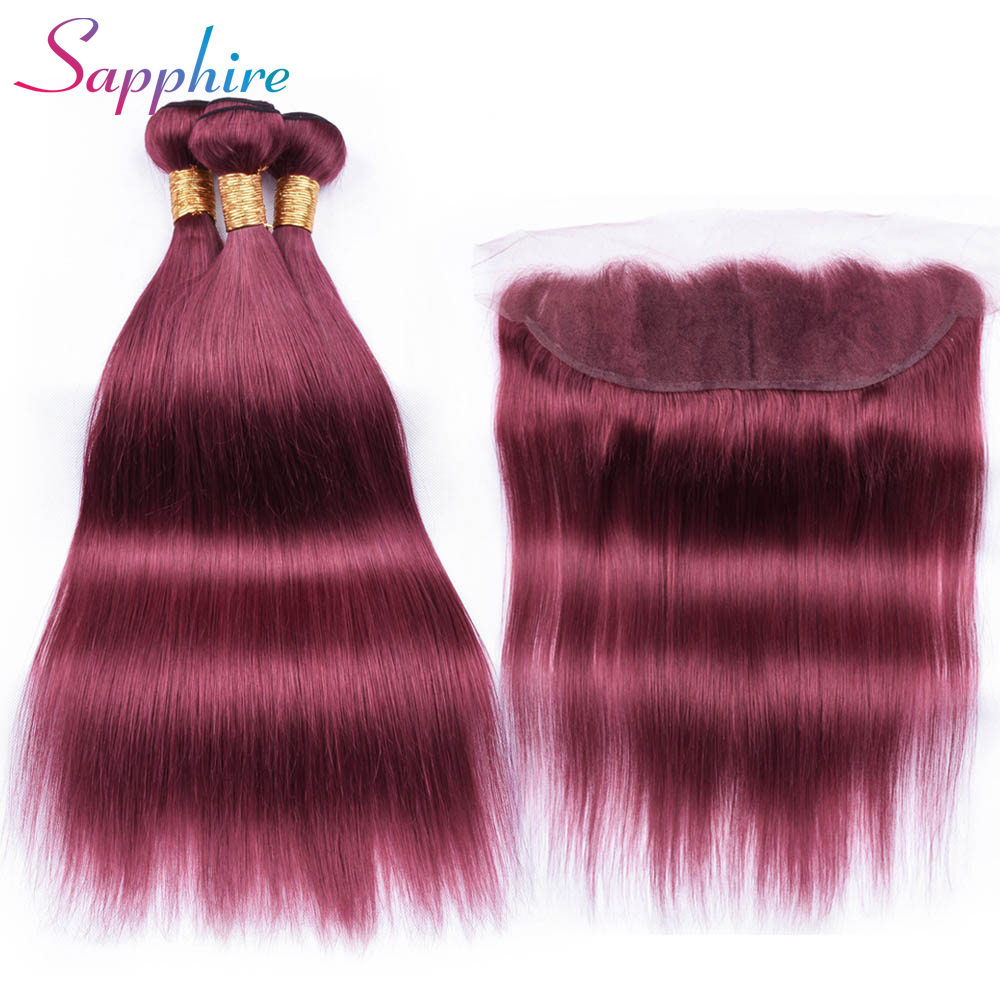 Sapphire Remy Hair Dark Red Color Hair Wefts 3 Bundle with 13*4 Ear to Ear Lace Frontal Closure Brazilian Human Hair