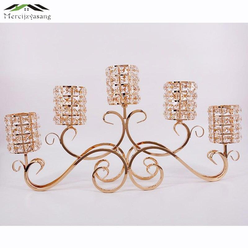 Подсвечники 5 оружия подсвечник с кристаллами 70 см канделябры Металл золото стоять столб ваза для свадьбы portavelas 01702