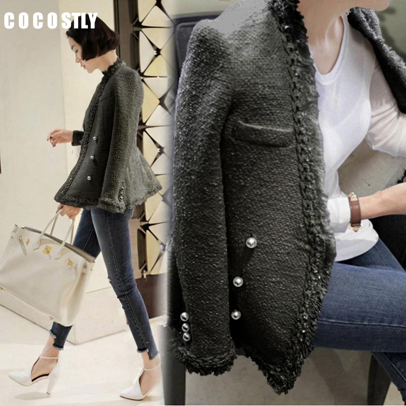 De Veste 2018 Chaud Tweed Office Élégant Femme Black Casaco white Manteau Laine Printemps Perles Lady Femmes Glands Vintage qwXU0Hwr