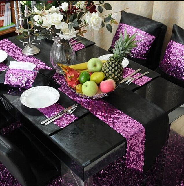 Purple Black Wedding Dinning Table Runner Party Decor High Quality