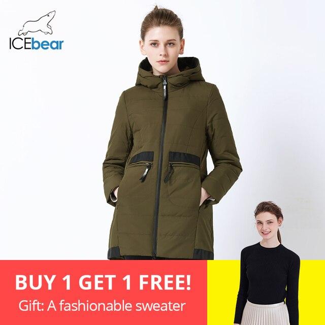 ICEbear 2019 новый средней длины женская куртка весна повседневная женская куртка ветрозащитный теплая марка женская куртка с капюшоном GWC18136I