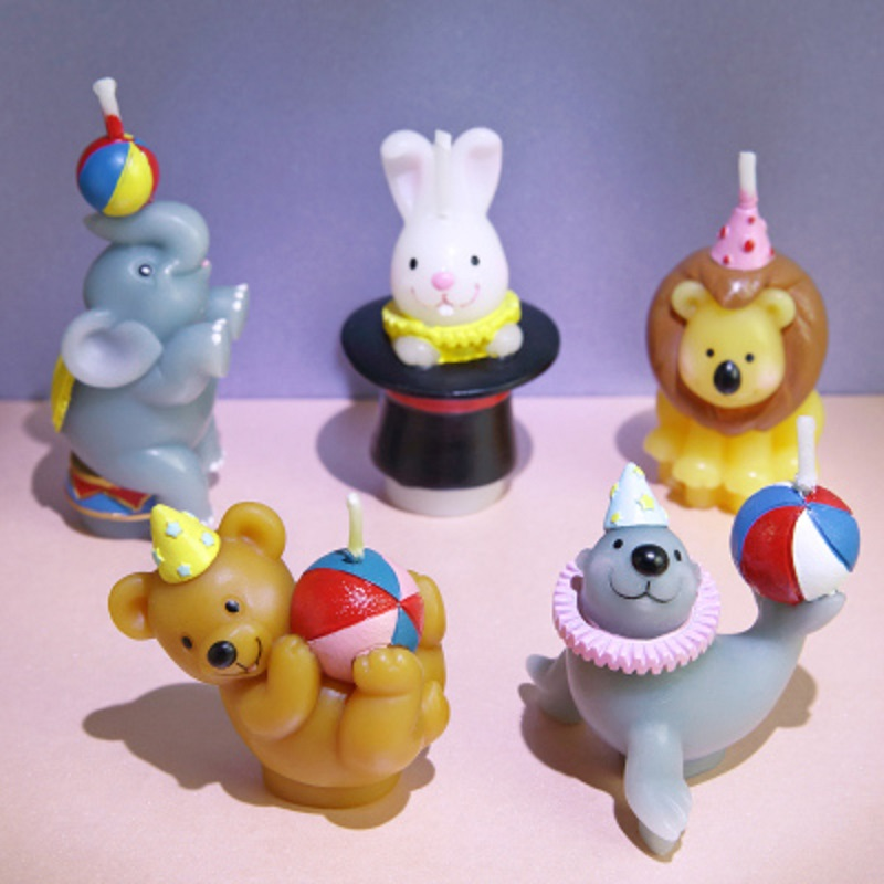 Creative Scented Birthday Weddings Candles Animals Cute Cartoon Flameless Candles Cake F ...