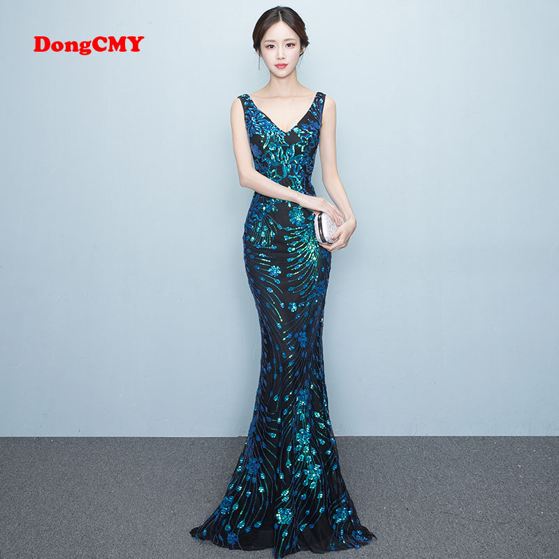 DongCMY WT1022   Prom     dress   New 2019 sexy Sleeveless fashion Sequin long party shiny Backless