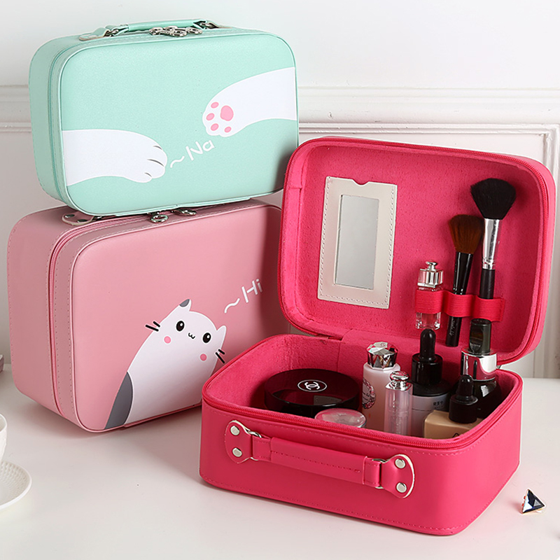 Cosmetic Bags Cosmetic Case Makeup Box Vanity Case Waterproof Pink Cat Cute Makeup Storage Bag Cosmetic Case Leather with Mirror pu leather makeup cases traval train jewelry storage box cosmetic lockable handle cosmetic makeup case empty makeup palette