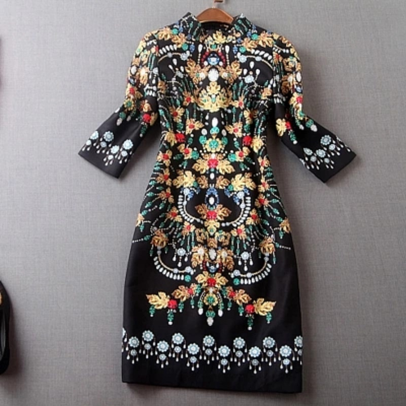 Col Et 2017 Le Mandarin Robe Femmes Noir Bohème Printemps Gaine Quarts Imprimé Européenne De Manches Nouveau Haute Vintage Trois Qualité Automne SPqw6ZSC