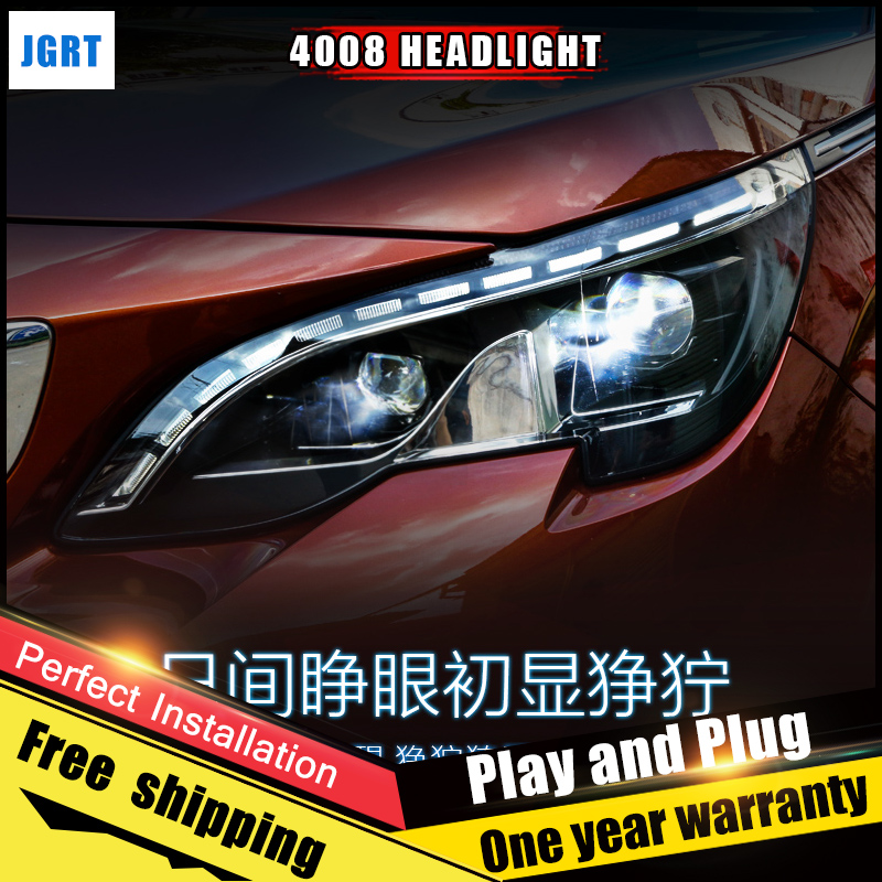2PCS Car Style LED headlights 2017 for Peugeot 4008 for 4008 head lamp LED DRL Lens Double Beam H7 HID Xenon bi xenon lens hireno headlamp for peugeot 4008 5008 headlight headlight assembly led drl angel lens double beam hid xenon 2pcs