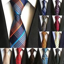Модный классический мужской галстук в клетку, Полосатый жаккардовый Шелковый галстук, деловой формальный свадебный галстук 8 см, 1200 игл