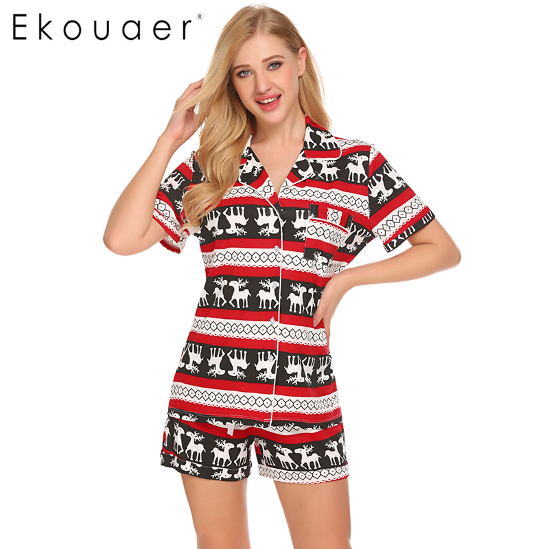 Ekouaer Christmas Casual Pajama Sets For Women Sleepwear Tops Shorts Set Simple Loungewear Night Suit Nightgown Female Nightie