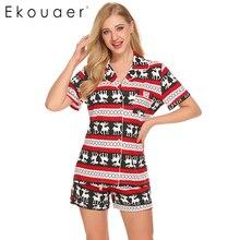 Ekouaer Christmas Casual Pajama Sets For Women Sleepwear Tops Shorts Set Simple Loungewear Night Suit Nightgown Female Nightie