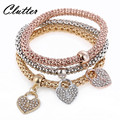 2017 Gifts 3Pcs Gold Color Heart Charm Elastic Bracelets For Women Pulseras Bracelet Cute Multilayer Bangles pulseira feminina