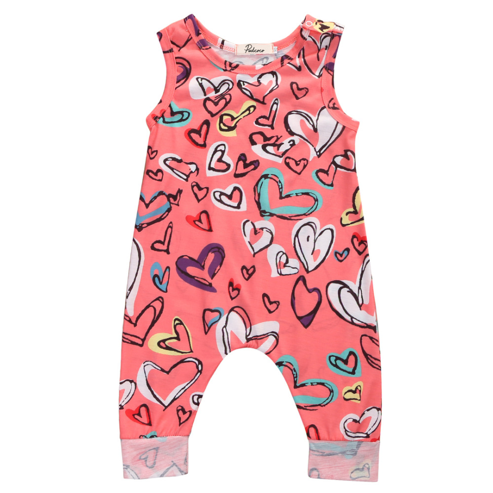 Baby Girls Floral Sleeveless Romper 2017 Summer Heart Print Sunsuit Outfit Clothes 0-24M