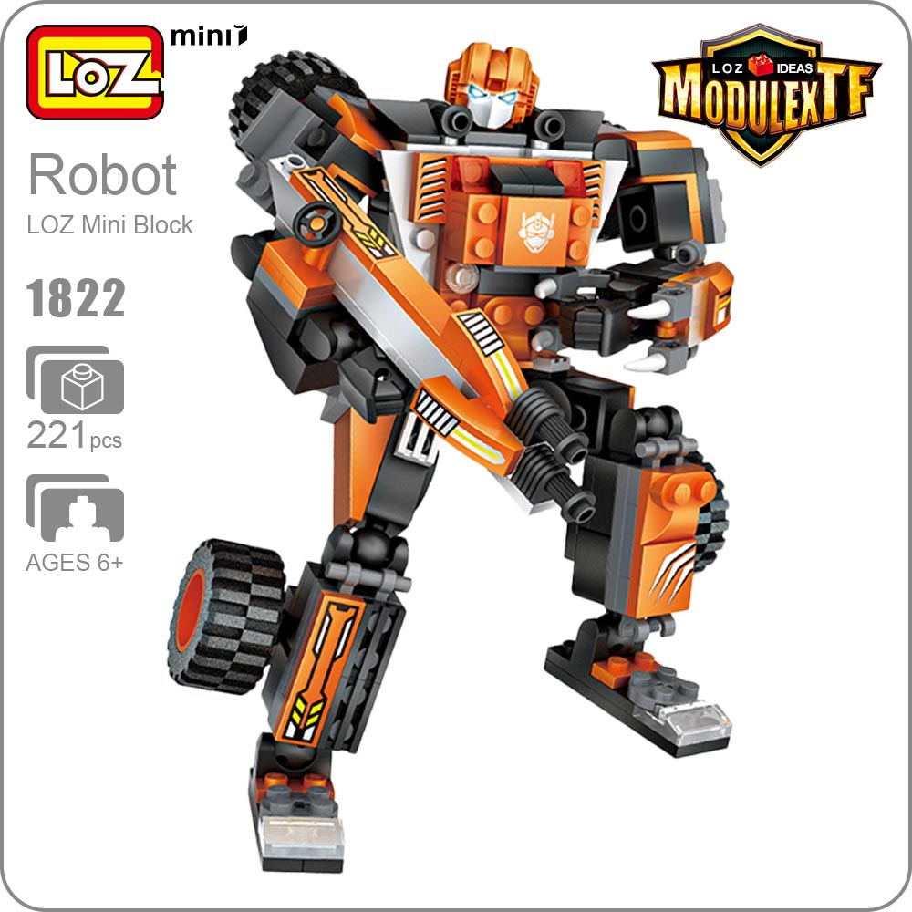 LOZ Mini Blocks Transformation Truck Crane Car Toys For Boys Robot Deformation Action Figures Gift Brinquedos Funny Bricks 1822 meng badi 1pcs lot transformation toys mini robots car action figures toys brinquedos kids toys gift