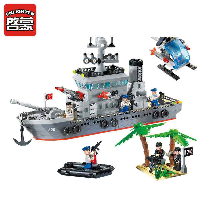 820 ENLIGHTEN Military Boat Missile Cruiser Model Building Blocks Classic DIY Action Figure Toys For Children Compatible Legoe enlighten building blocks military cruiser model building blocks girls
