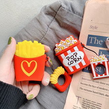 Fashion French fries Popcorn Design Silicone Soft Bluetooth Wireless Earphone Cover For Apple Airpods 1 2 Case With Match Ring