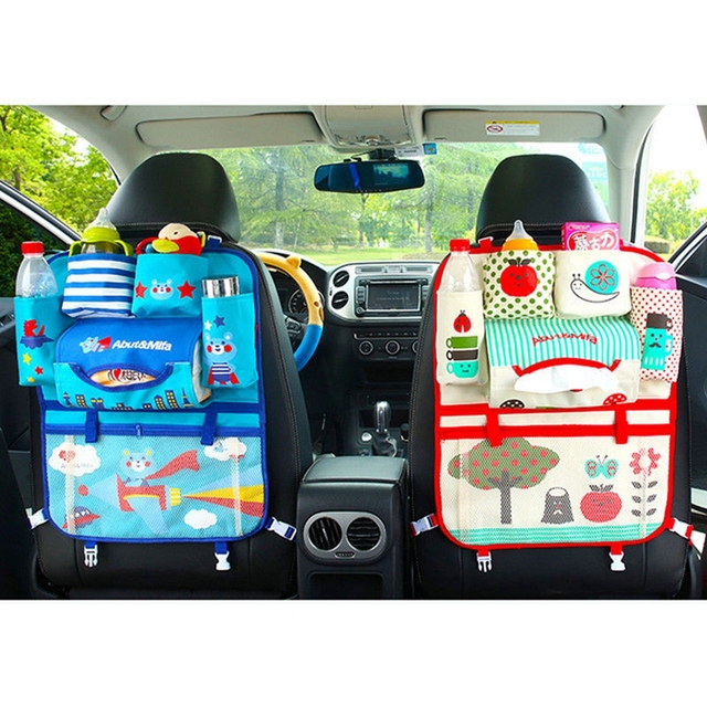 Cartoon Autostoel Opbergtas Tidy Organisator Multi-Pocket Zak Auto Reizen Opslag Opknoping Houder Kids Baby Leuke