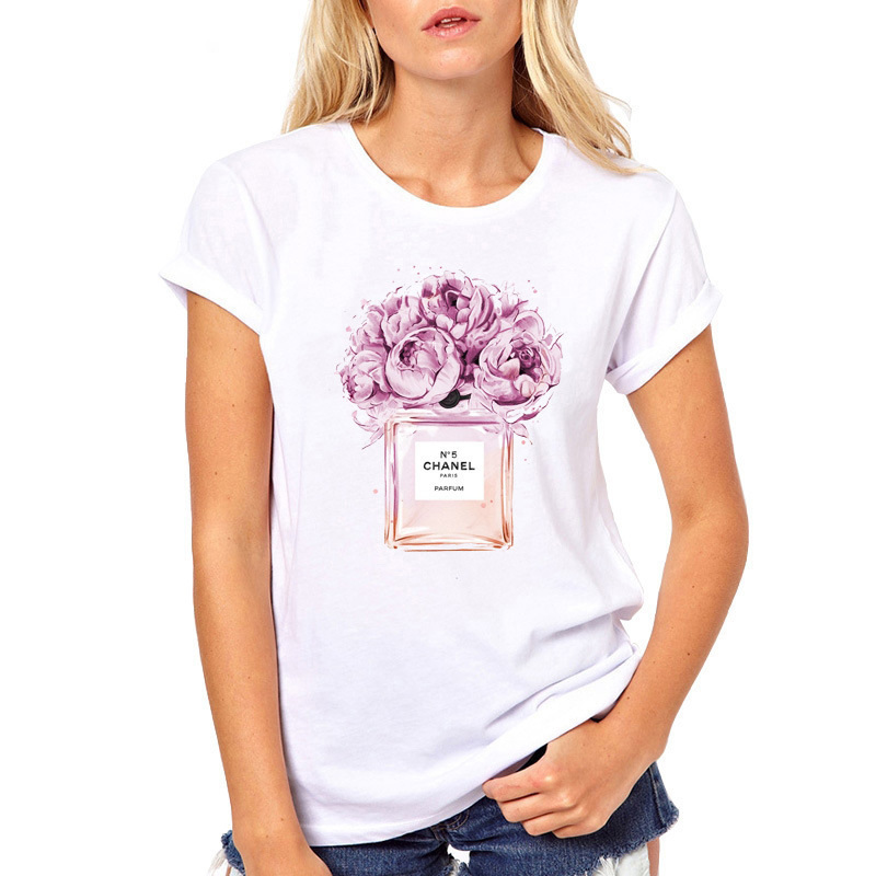 2019 Summer Tops Women Flower Perfume   T     shirt   Camisetas Mujer Fashion Ladies O-neck Short Sleeve Tops White High Quality   T  -  shirt