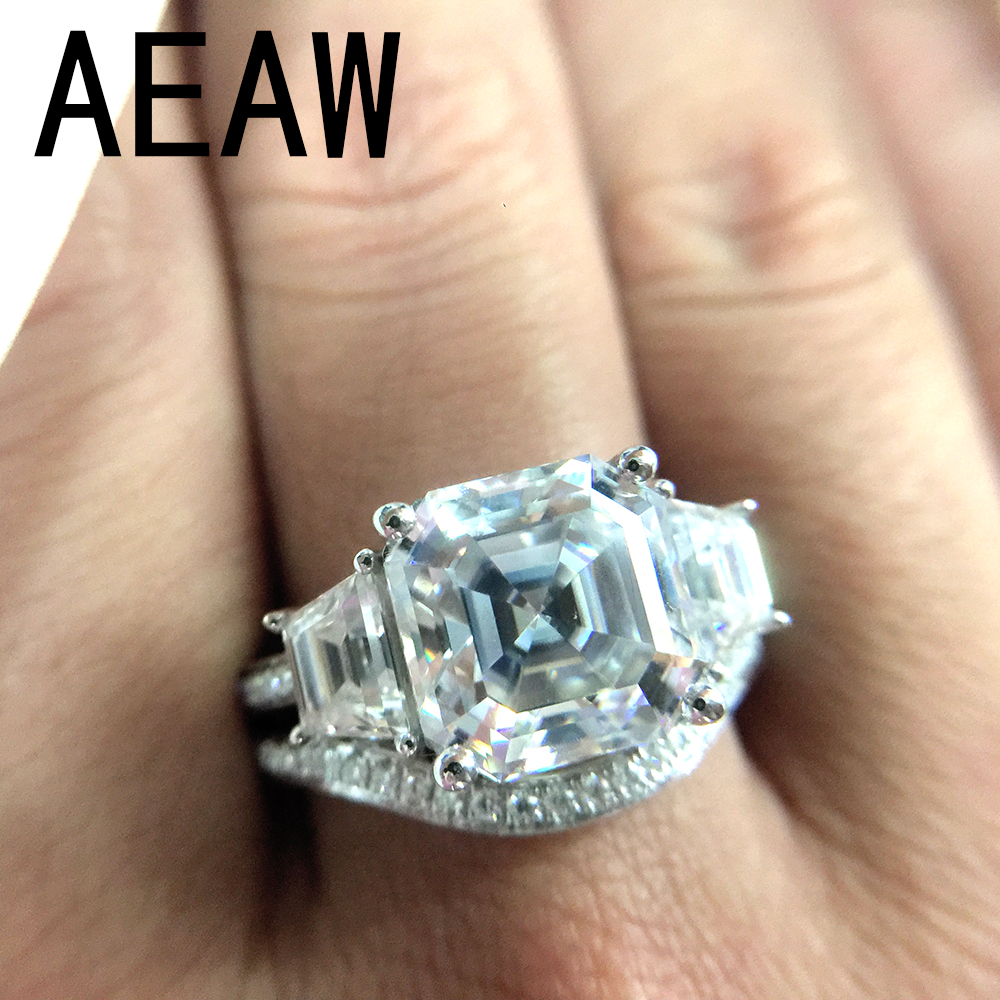 4.0carat 9x9mm Asscher Cut Moissanite Ring Set DEF Color Excellent Matching Band Ring For Women Solid 14K White Gold punk style solid color hollow out ring for women