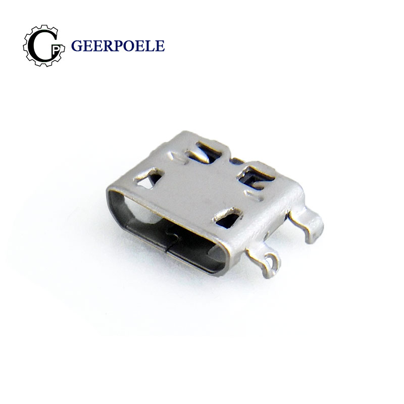 <font><b>50</b></font> pcs/lot 4 Feet <font><b>5Pin</b></font> DIP Female Flat Port Micro <font><b>USB</b></font> Connector <font><b>Jack</b></font> Tail Plug Sockect Terminals Front foot hollow image