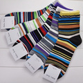2017 Men's   Socks Cotton Sock Masculinas Brand Male Elite Sox Beautiful Multicolour Stripes In Tube Casual Socks 8M02471