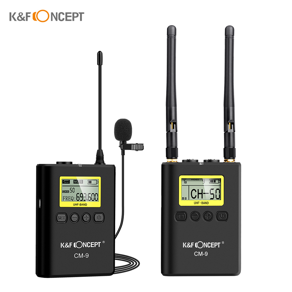 K&F CONCEPT Wireless Lavalier Lapel Microphone Mic System 1 Transmitter+1 Receiver LCD Display Screen For DSLR Camera Camcorder