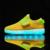 Caliente usb recargable led luminoso shoes para niños kids sneakers transpirable tejido ligero zapatilla de deporte de los niños/niñas de neón shoes