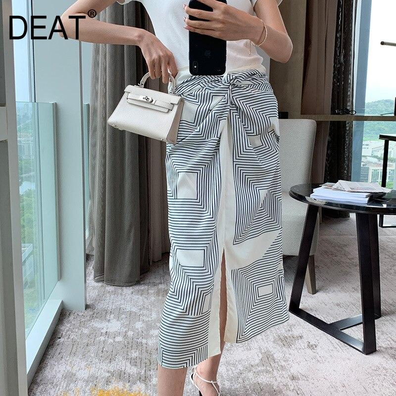 [DEAT] 2019 летняя новинка, Высококачественная Корейская одежда, Лоскутная плиссированная полосатая Женская свободная юбка с разрезом, QJ07301M