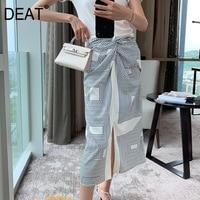 [DEAT] 2019 summer new High quality Korean clothing Patchwork pleated striped split Panelled women loose feminina skirt QJ07301M