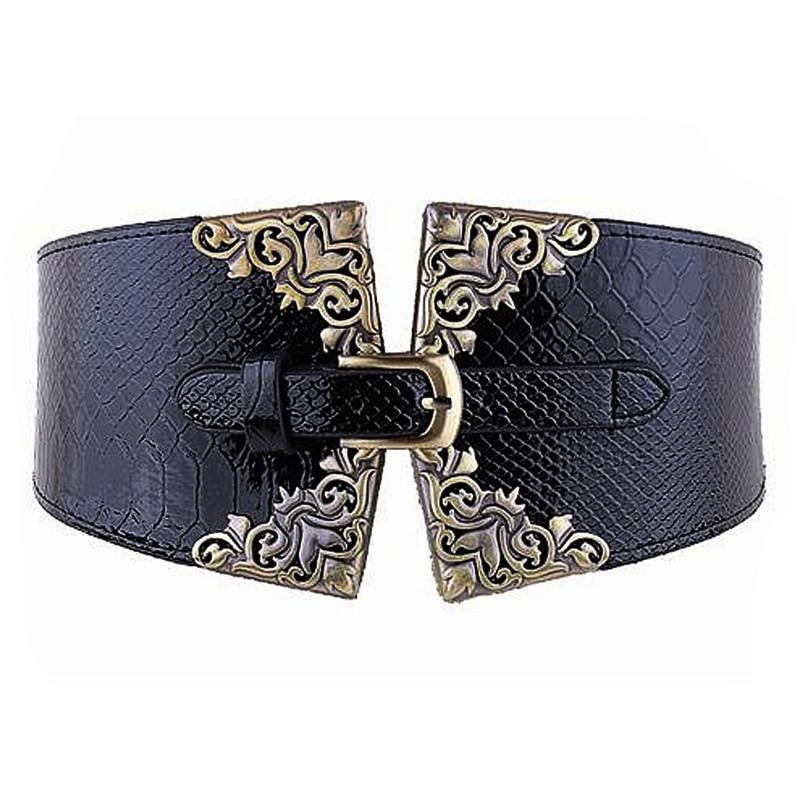 Lady Women Elastic Waistband Faux Leather Wide Waist Belt Retro Metal Buckle