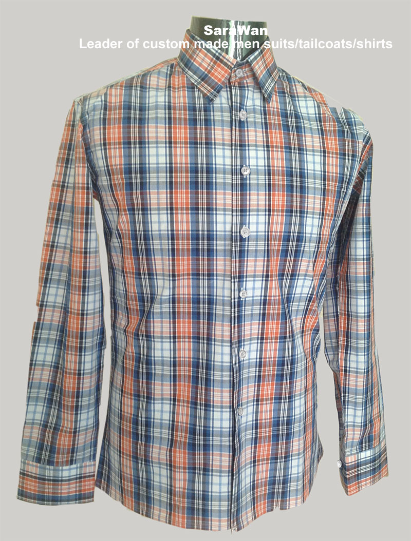 Plaid Mens Dress Shirt Men Custom Made Plaid Shirts Men Tailored