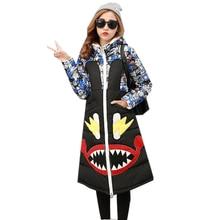 2016 New Winter Women Down Jacket Warm Thick Cartoon Print Cotton-padded Coat Female Slim Hooded Parka Casual Long Outwear ZJ914