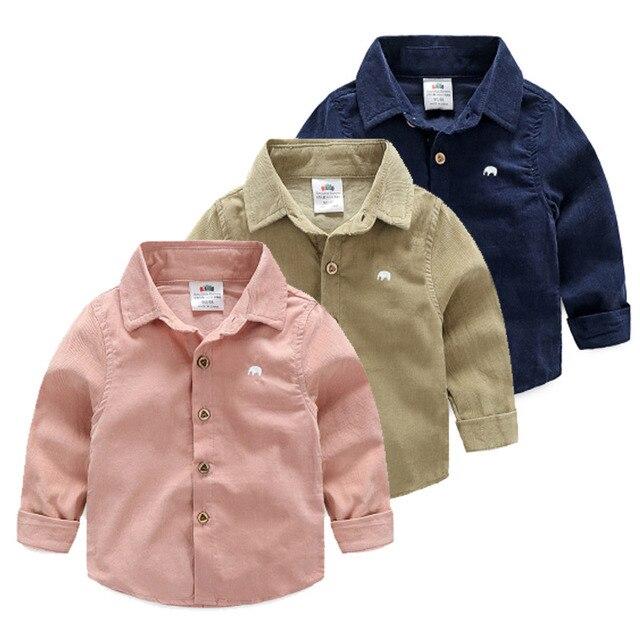 2 Лет до мальчик сплошной цвет рубашки 2016 осень детская одежда ребенка вельвет с длинными рукавами Мальчиков Блузки дети Рубашки