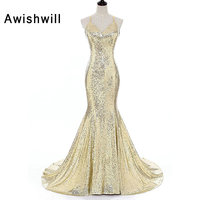 New Arrival Spaghetti Strap Sexy Backless Evening Dress Mermaid Floor-length Sequin Dress Party Prom Special Occasion Dresses