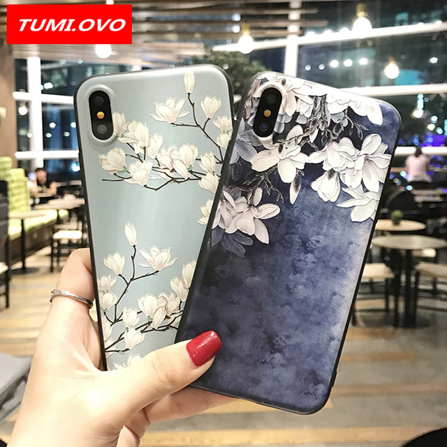 new product a4a6f 1b068 US $1.76 20% OFF|TUMI.OvO Blue Orchid Flower Silicone Full Case for iPhone  7 8 6 6s Plus 5 5s Case Soft Phone Cases Back Cover for iPhone X Coque-in  ...