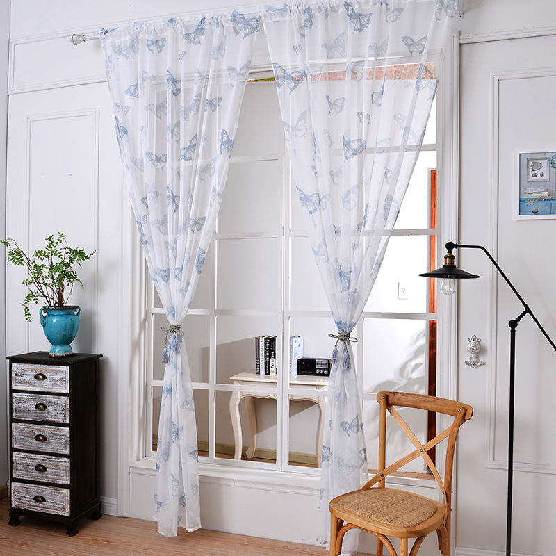 Butterfly Gauze Tulle Voile Sheer Cotton Cotton Fabric Curtains Window Screening For For