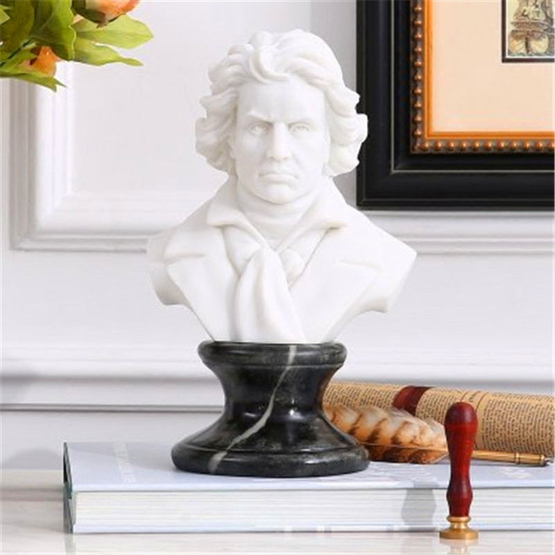 Pianist Composer Ludwig Van Beethoven BUST Figure Sculpture Imitation White Marble Colophony Crafts Living Room Decoration G1008 musician ludwig van beethoven western classical composer chill casting copper head sculpture colophony crafts decoration g1004