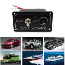 3 Way Bilge Pump Switch Panel LED Boat Marine Control  Manual ON/OFF Auto DC 12V