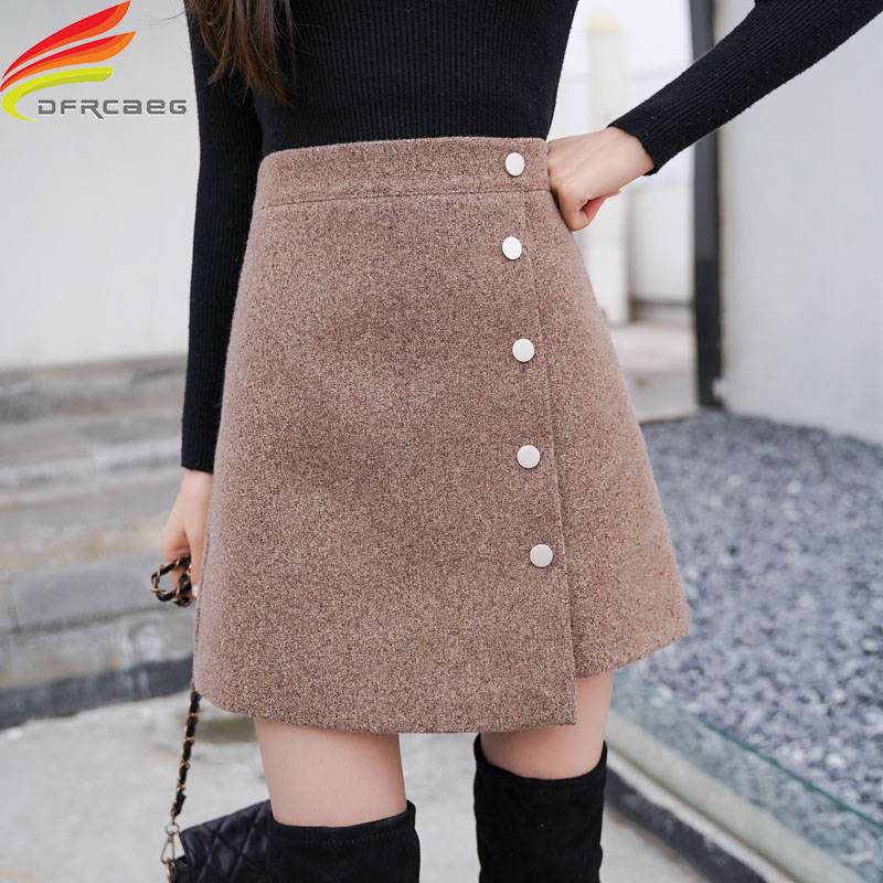 Winter Skirt Women Skort 2018 New Arrivals Khaki Black High Waist A Line Cashmere Skirt Korean Style Women Mini Skirts Hot Sale