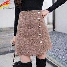 Зимняя женская юбка Skort 2020 Новое поступление хаки черная трапециевидная кашемировая юбка с высокой талией в Корейском стиле Женская мини юбка