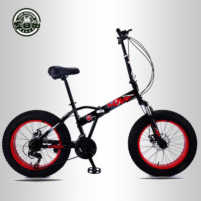 Vélos pliants pour hommes et femmes vélos de neige vélo portable changement de vitesse absorption des chocs petite roue 20 pouces VTT
