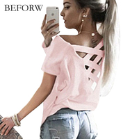 BEFORW 2017 Summer New Back Cross Short Sleeves Fashion Leisure T Shirt Refreshing Comfortable Fabric Women