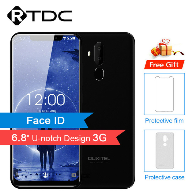 "Oukitel C12 6.18"" 18:9 Android 8.1 Face ID 3300mAh MT6580 Quad Core 2GB RAM 16GB ROM 8MP+2MP 3G Fingerprint Mobile Phone"
