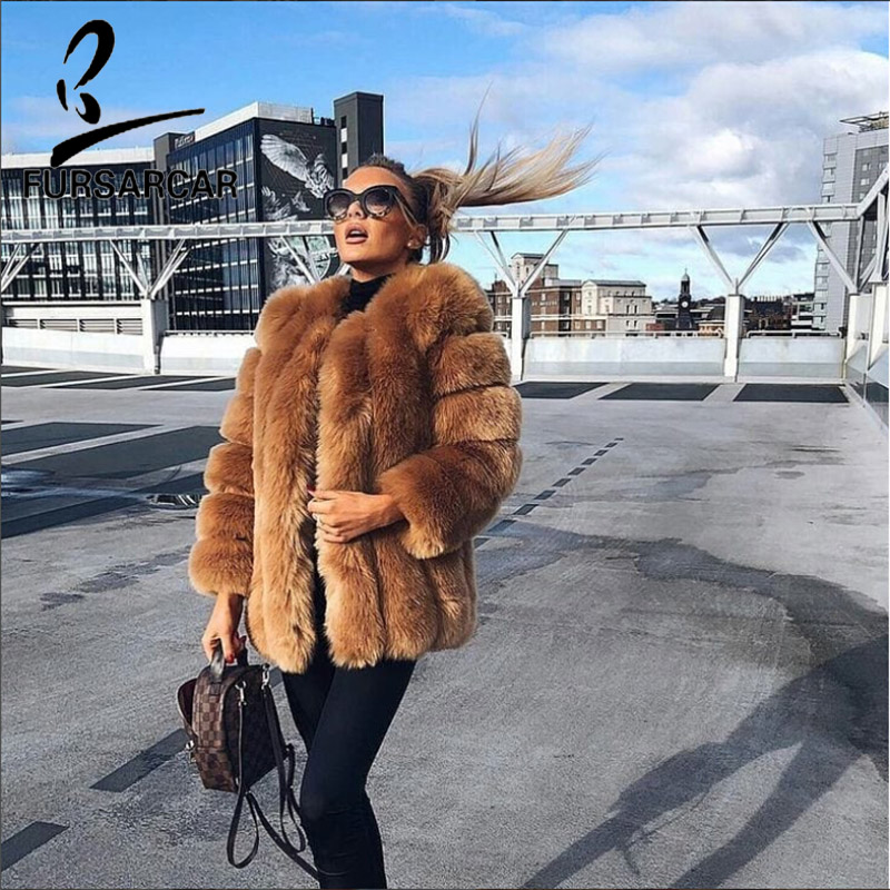 FURSARCAR Fashion Real Fox Fur Coat Women O-Neck Long High Street Genuine Natural Fur Female Jacket Winter Thick Fox Fur Coats
