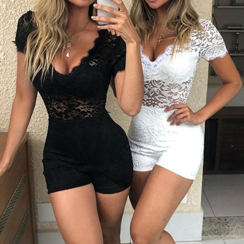 Summer Sexy Short Jumpsuit Sexy Clubwear Hollow Out Playsuit Bodycon Short Sleeve Skinny Playsuits 2019 Women V-Neck Lace Romper(China)