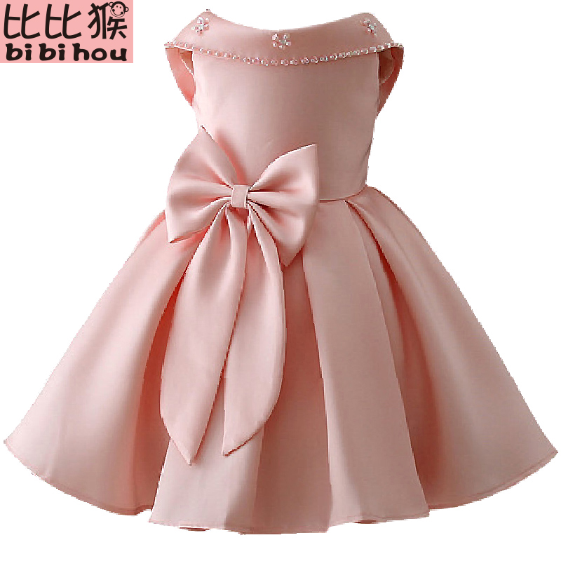 2018 Petal Big Bow Satin Girls Princess wedding dress Baby kids princess dresses for girls clothes Tutu dress Christmas costume