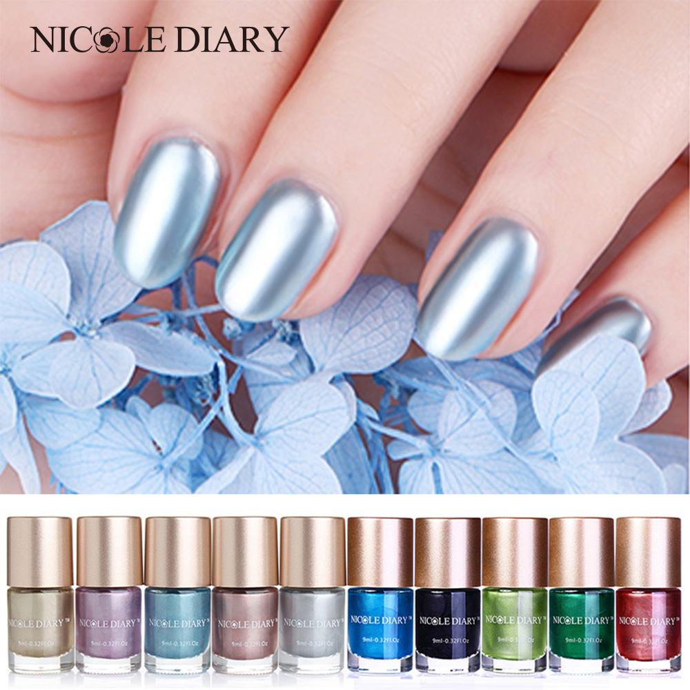 Very Me Metallic Nail Polish Shades: NICOLE DIARY 9ml Metallic Nail Polish Mirror Effect Shiny