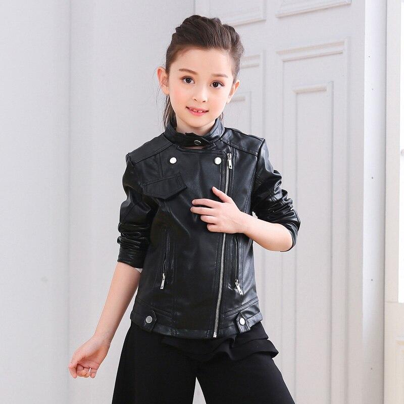 2248a6d563d Новый Демисезонный маленьких Дети Мото-куртки из искусственной кожи Модная  одежда для девочек верхняя одежда