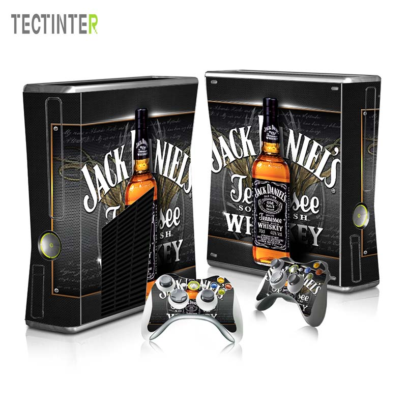 Protector Vinyl Sticker for Xbox 360 Slim Console with 2 Controller Skins Cover for Xbox360