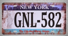 1 pc New York GNL 582 US Car license American garage plaques Tin Plates Signs wall man cave Decoration Metal Art Vintage Poster
